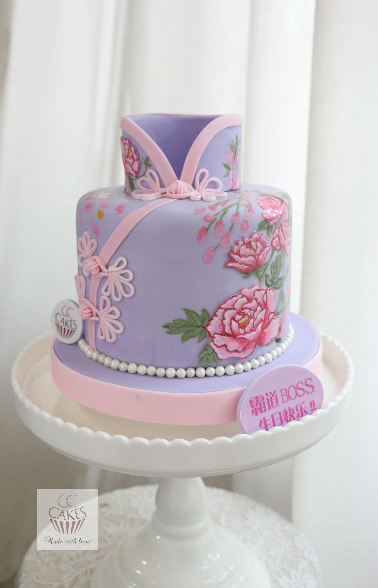 手绘牡丹旗袍蛋糕